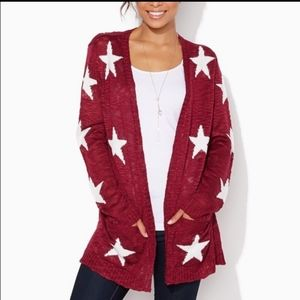 Ladies Charming Charlie Open Cardigan with stars